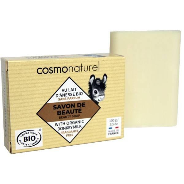 Savon Bio de beauté au lait d'Ânesse enrichi au beurre de karité sans parfum – 100 gr – Cosmo Naturel