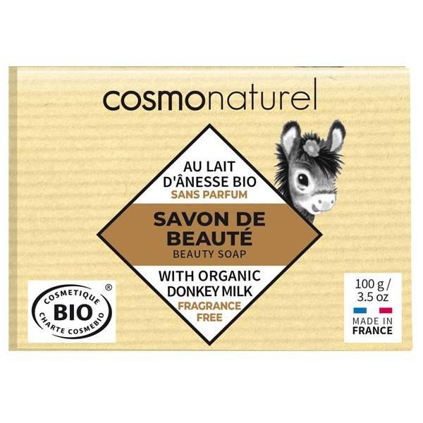 Savon Bio de beauté au lait d'Ânesse enrichi au beurre de karité sans parfum – 100 gr – Cosmo Naturel - Vue 1