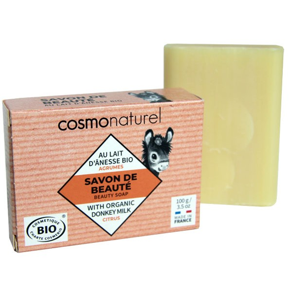 Savon Bio de beauté au lait d'Ânesse parfumé aux agrumes – 100 gr – Cosmo Naturel