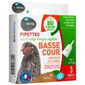 3 pipettes insectifuge Bio pour animaux à plumes de basse cour - Biovétol