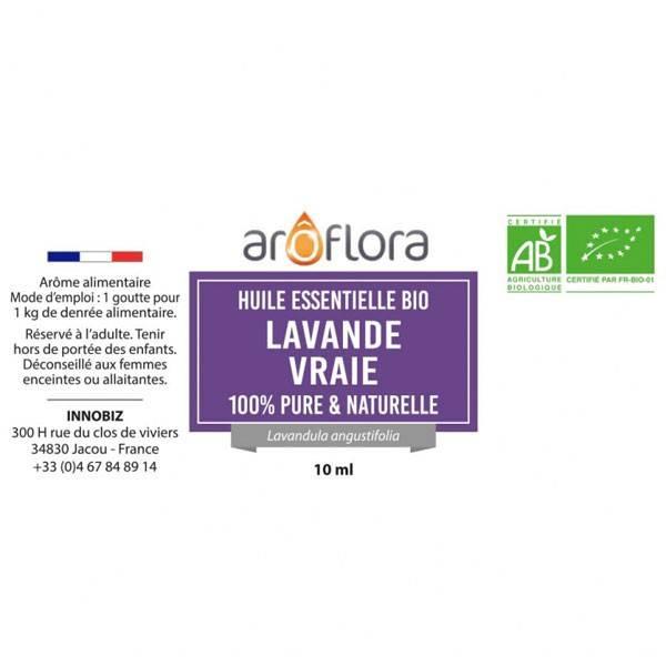 Lavande vraie AB Aroflora - détail étiquette