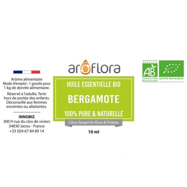 Détail étiquette pour l'huile essentielle de bergamote bio Aroflora