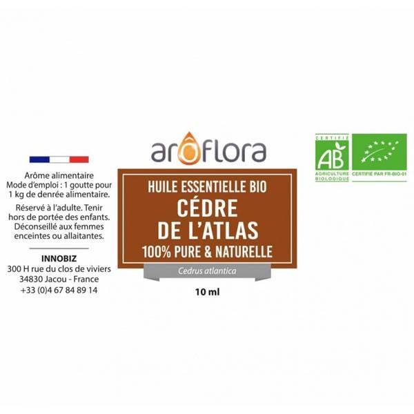Détail étiquette pour l'huile essentielle de cèdre de l'Atlas Aroflora