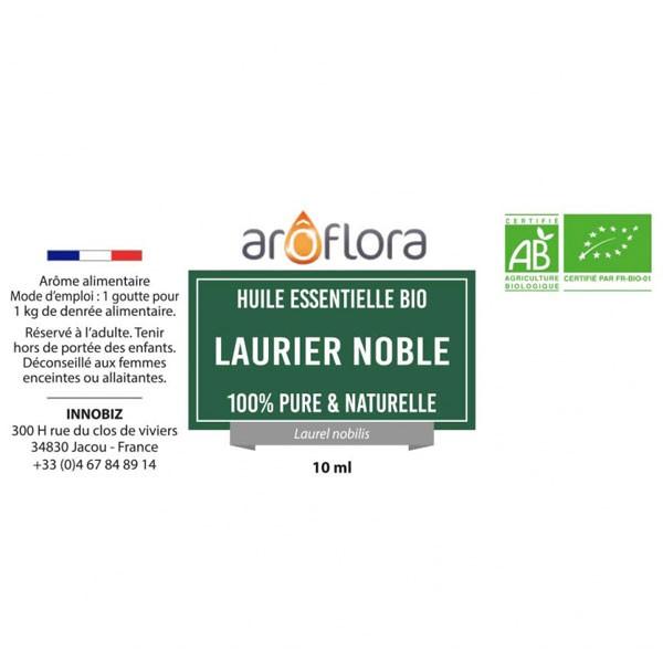 Détail étiquette pour l'huile essentielle de Laurier noble Aroflora