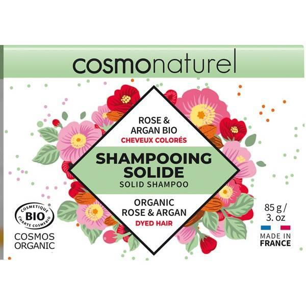 Shampooing solide cheveux colorés Rose et Argan Bio - 85gr - Cosmo Naturel - Vue 2