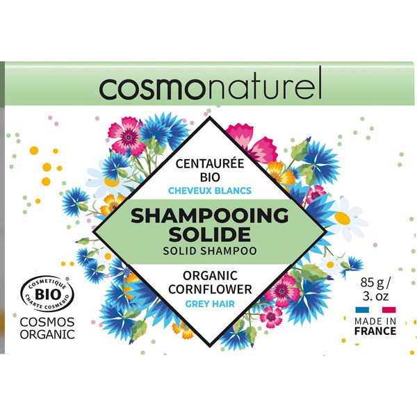 Shampooing solide cheveux blancs Centaurée bio - 85gr - Cosmo Naturel - Vue 2