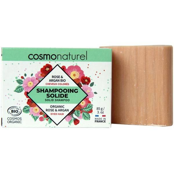 Shampooing solide cheveux colorés Rose et Argan Bio - 85gr - Cosmo Naturel - Vue 1