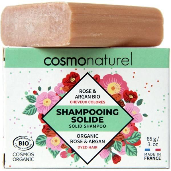 Shampooing solide cheveux colorés Rose et Argan Bio - 85gr - Cosmo Naturel