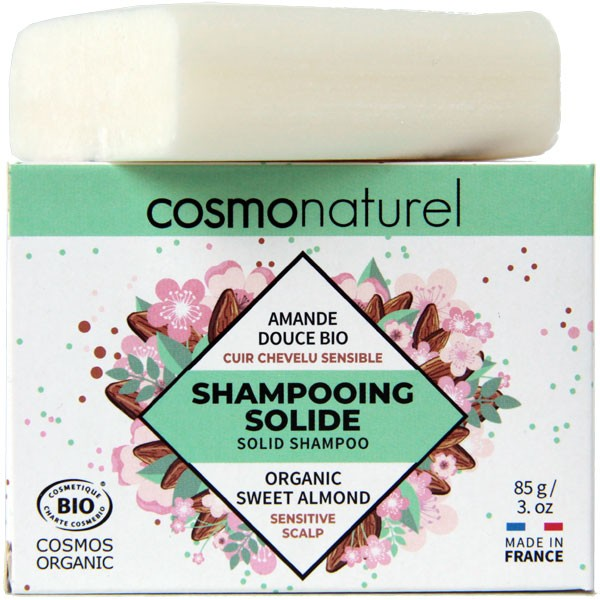 Shampooing solide cuir chevelu sensible Amande douce bio - 85gr - Cosmo Naturel