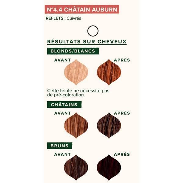 Nuancier individuel pour la coloration végétale Châtain auburn n°4.4 - 100 gr - Emblica