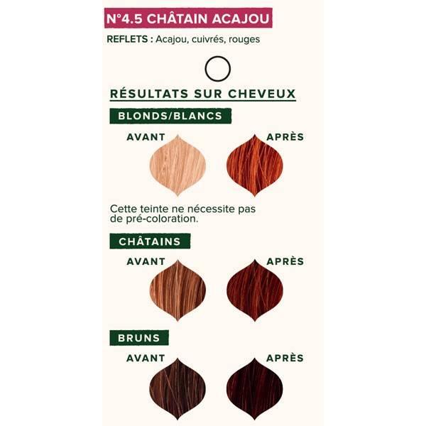 Nuancier individuel pour la coloration végétale Châtain acajou n°4.5 - 100 gr - Emblica