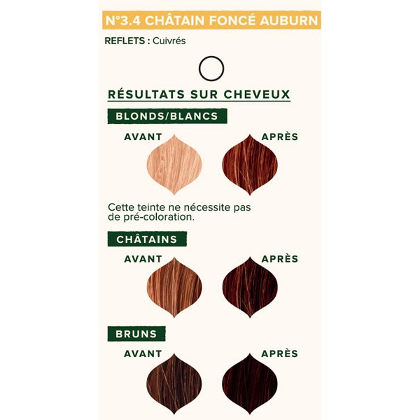 Nuancier individuel pour la coloration végétale Châtain foncé auburn n°3.4 - 100 gr - Emblica