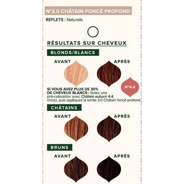 Nuancier individuel pour la coloration végétale Châtain foncé profond n°3.0 - 100 gr - Emblica