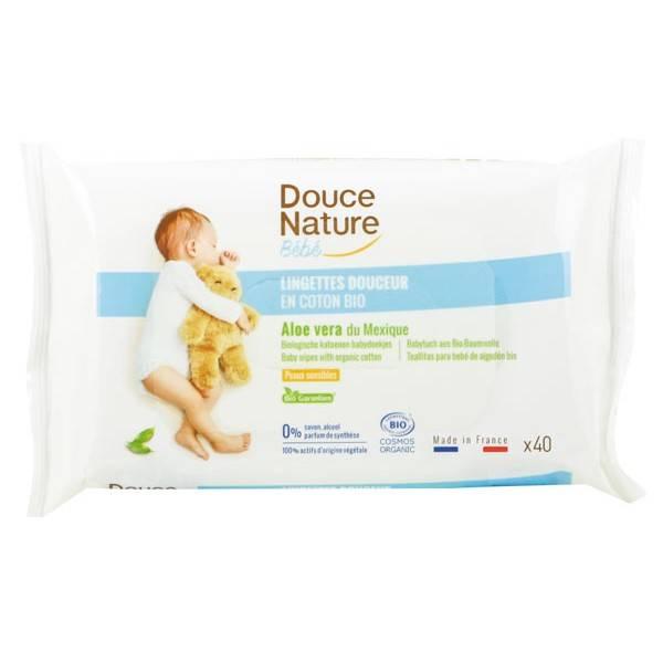 Lingettes douceur bébé en coton bio à l'Aloe Vera – x40 – Douce Nature