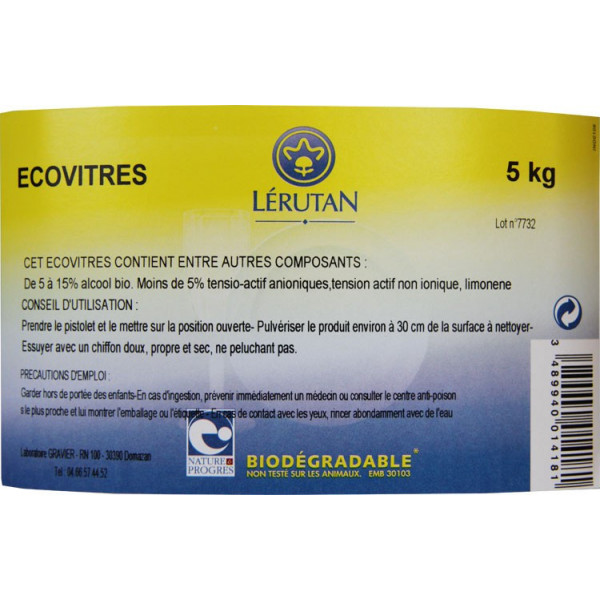 Détail étiquette Ecovitres - 5 Kg – Lerutan