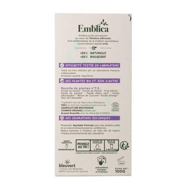 Coloration végétale Blond Ambré n°7.3 - 100 gr - Emblica - Vue de dos