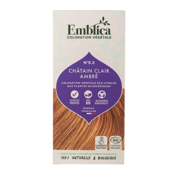 Coloration végétale Châtain clair ambré n°5.3 - 100 gr - Emblica - Vue de face