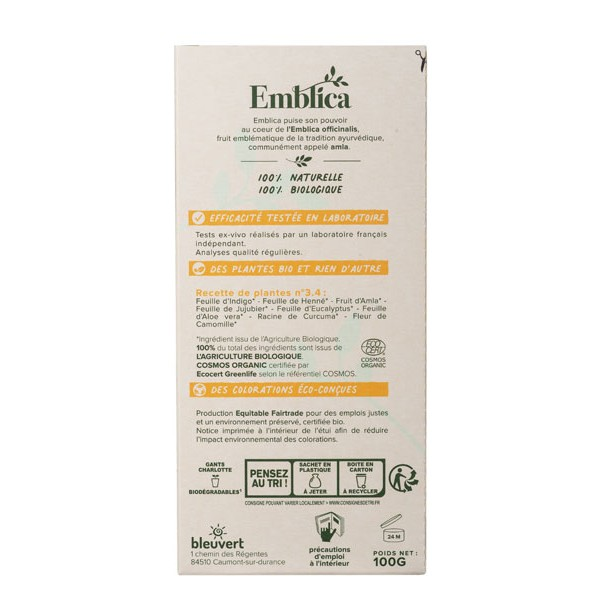 Coloration végétale Châtain foncé auburn n°3.4 - 100 gr - Emblica - Vue de dos