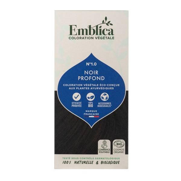 Coloration végétale Noir profond n°1.0 - 100 gr - Emblica - Vue de face