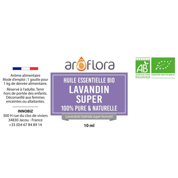 Lavandin super AB - Fleurs - 10 ml - Huile essentielle Aroflora - Vue 2