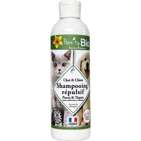 Shampooing répulsif puces et tiques pour chat-chien – 250 ml - Penntybio