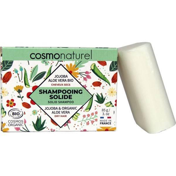 Shampooing solide cheveux secs Jojoba Aloe vera Bio - 85gr - Cosmo Naturel - Vue 1