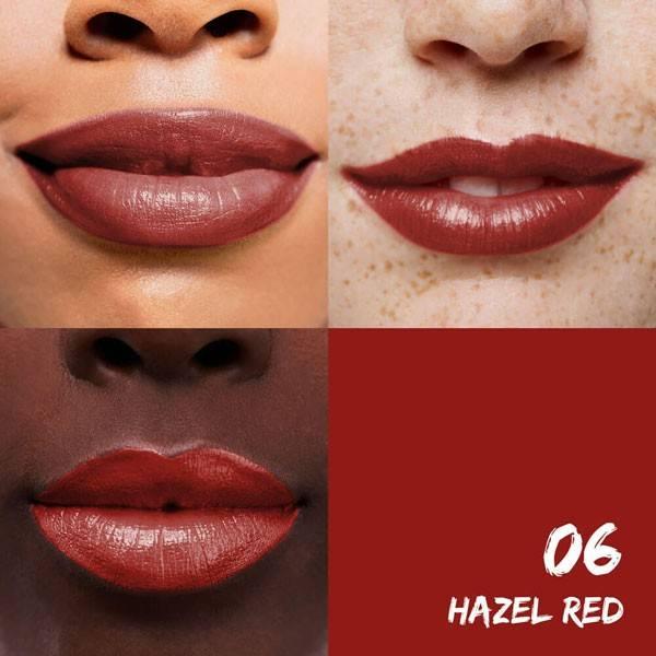 Exemple application pour le rouge à lèvres hydratant 06 Hazel Red Sante