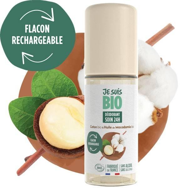 Déodorant Roll on soin 24h coton et macadamia - 50 ml - Je suis Bio