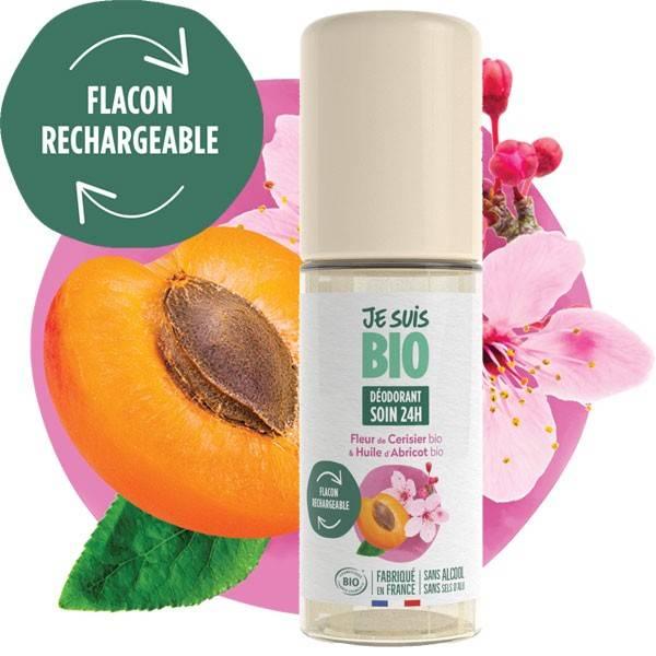 Déodorant Roll on soin 24h Fleurs de cerisier et abricot bio - 50 ml - Je suis Bio
