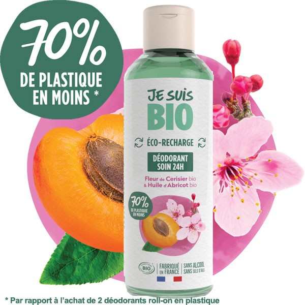 Recharge déodorant Roll on Fleurs de cerisier et abricot bio - 100 ml - Je suis Bio