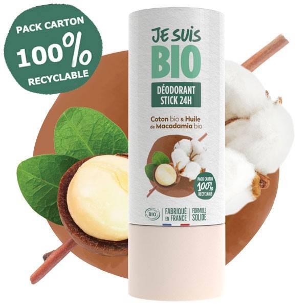 Déodorant Stick solide 24h coton et macadamia bio - 50 ml - Je suis Bio