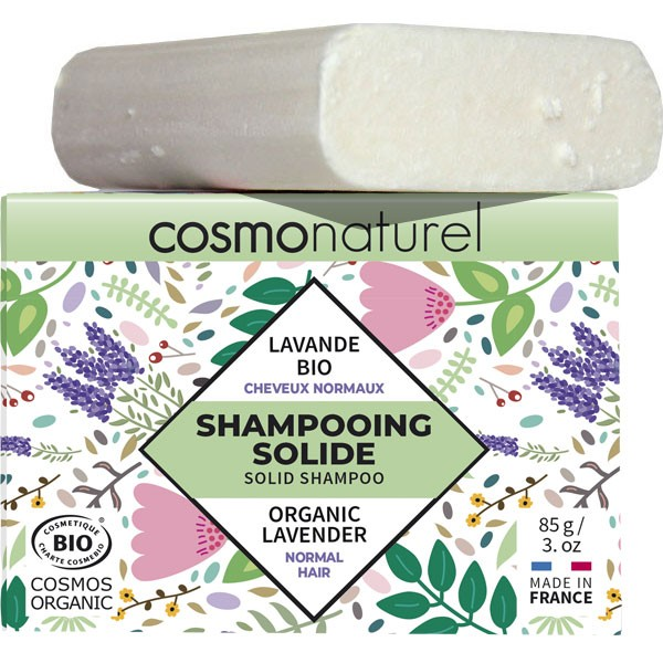 Shampooing solide cheveux normaux Lavande Bio - 85gr - Cosmo Naturel