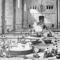 Gravure historique d'une savonnerie à Marseille