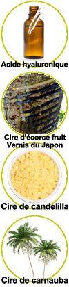 Actifs Acide Hyaluronique, cire d'écorce du fruit du vernis du Japon, cire de carnauba et cire de candelilla