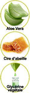 Actifs Aloe vera, cire d'abeille et glycérine végétale