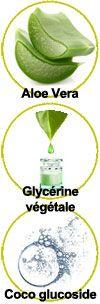 Actifs Aloe vera, glycérine végétale et coco glucoside