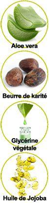 Actifs Aloe vera, beurre de karité, glycérine végétale et huile de jojoba