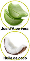 Actifs jus d'Aloe vera et huile de coco