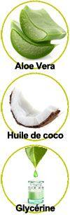 Actifs Aloe vera, huile de coco et glycérine végétale