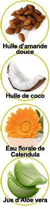Actifs huile d'amande douce, huile de coco, eau florale de Calendula et jus d'aloe vera