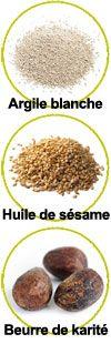 Actifs Argile blanche, huile de sésame et beurre de karité