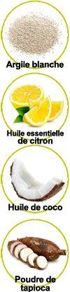 Principaux actifs de ce dentifrice solide : Argile blanche, huile essentielle de citron, huile de coco et poudre de tapioca
