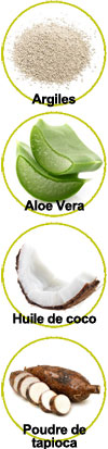 Principaux actifs de ce déodorant solide : Argiles, Aloe vera, huile de coco et poudre de tapioca