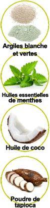 Principaux actifs de ce dentifrice solide : Argiles, huiles essentielles de menthes, huile de coco et poudre de tapioca