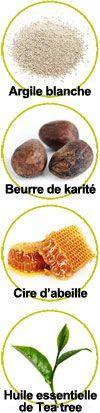 Principaux actifs de ce déodorant solide : Argiles, beurre de karité, cire d'abeille et huile essentielle de Tea tree