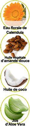 Actifs extrait de calendula bio, huile végétale d'amande douce, huile de coco bio et jus d'aloe vera