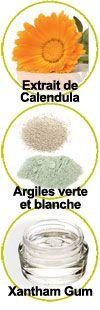 Composants extrait de Calendula, argiles vertes et blanches et xantham gum