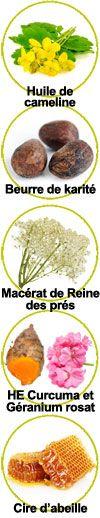 Actifs huile de Cameline, beurre de karité, macérat Reine des prés, huiles essentielles de curcuma et de géranium rosat, cire d'abeille