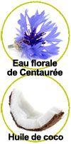Actifs eau florale de Centaurée et d'huile de coco
