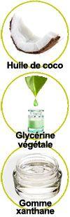 Actifs huile de coco, glycérine végétale et gomme xanthane